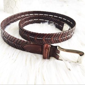Brown Leather Feather Design Belt